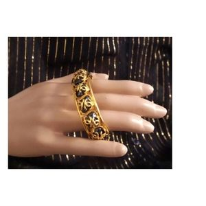Chanel Jewelry - Gold Ultra Rare Cc Overlay Black Stones  Bracelet